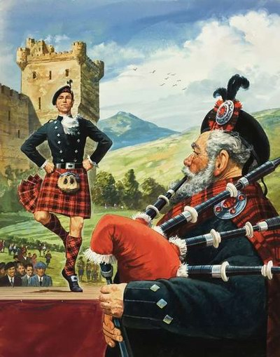 Шотландские танцы. Картина неизвестного художника.